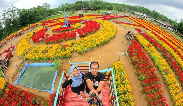 Lokasi taman bunga di Dharmasraya